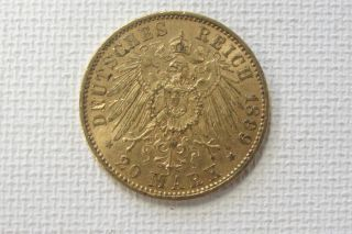 1899 Prussia Wilhelm Ii 20 Mark Uncirculated Gold Coin photo
