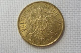 1905 Prussia Wilhelm Ii 20 Mark Uncirculated Gold Coin photo