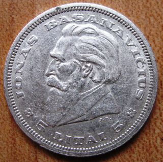 Lithuania Silver Coin 5 Litai 1936 Lietuva Jonas Basanavicius Km 82 photo