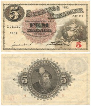 1952 Sweden Lightly Circulated Fem Or 5 Kronor Note,  The Svea & King Gustav Vasa photo