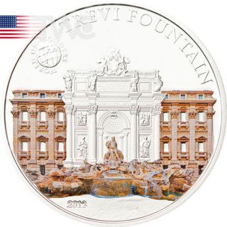 Palau 2012 5$ Trevi Fountain World Of Wonders Vi Proof Silver Coin photo