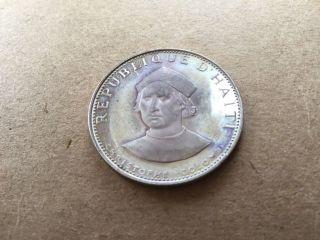 Haiti 25 Gourdes,  1973 Silver Christopher Columbus Comemorative Coin photo