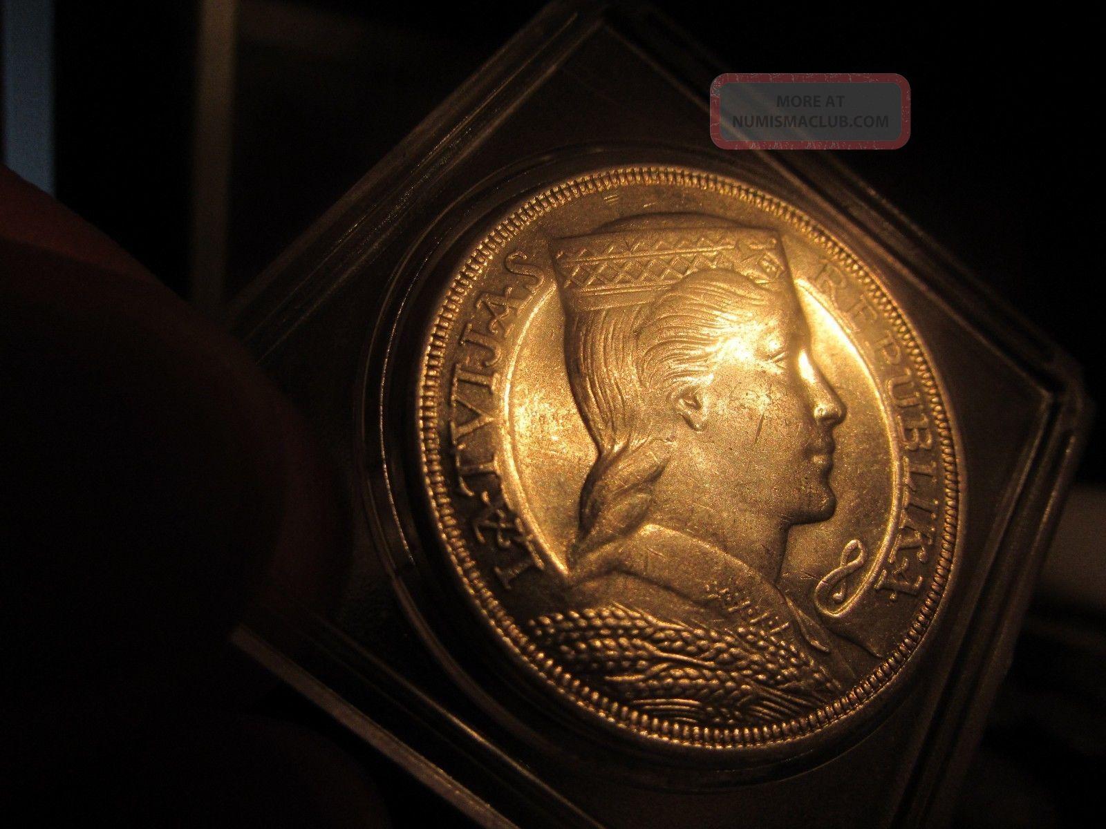 Key Date Scarce: 1931 Latvia 5 Lati: Queen:,  Major Numismatic Rarity Europe photo