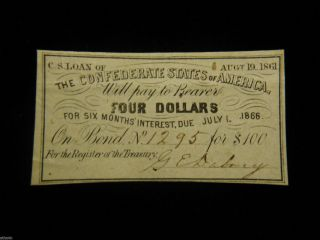 Authentic 1861 $4 Csa Loan Bond Certificate W/ G.  E Dabney Signature - photo