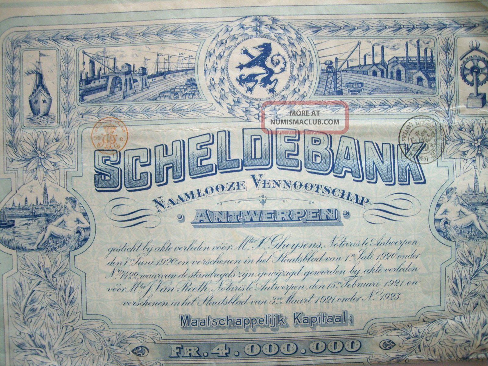 Rare Scheldebank Antwerp Belgium 1923 Top Deco Bank Bond Share Loan World photo
