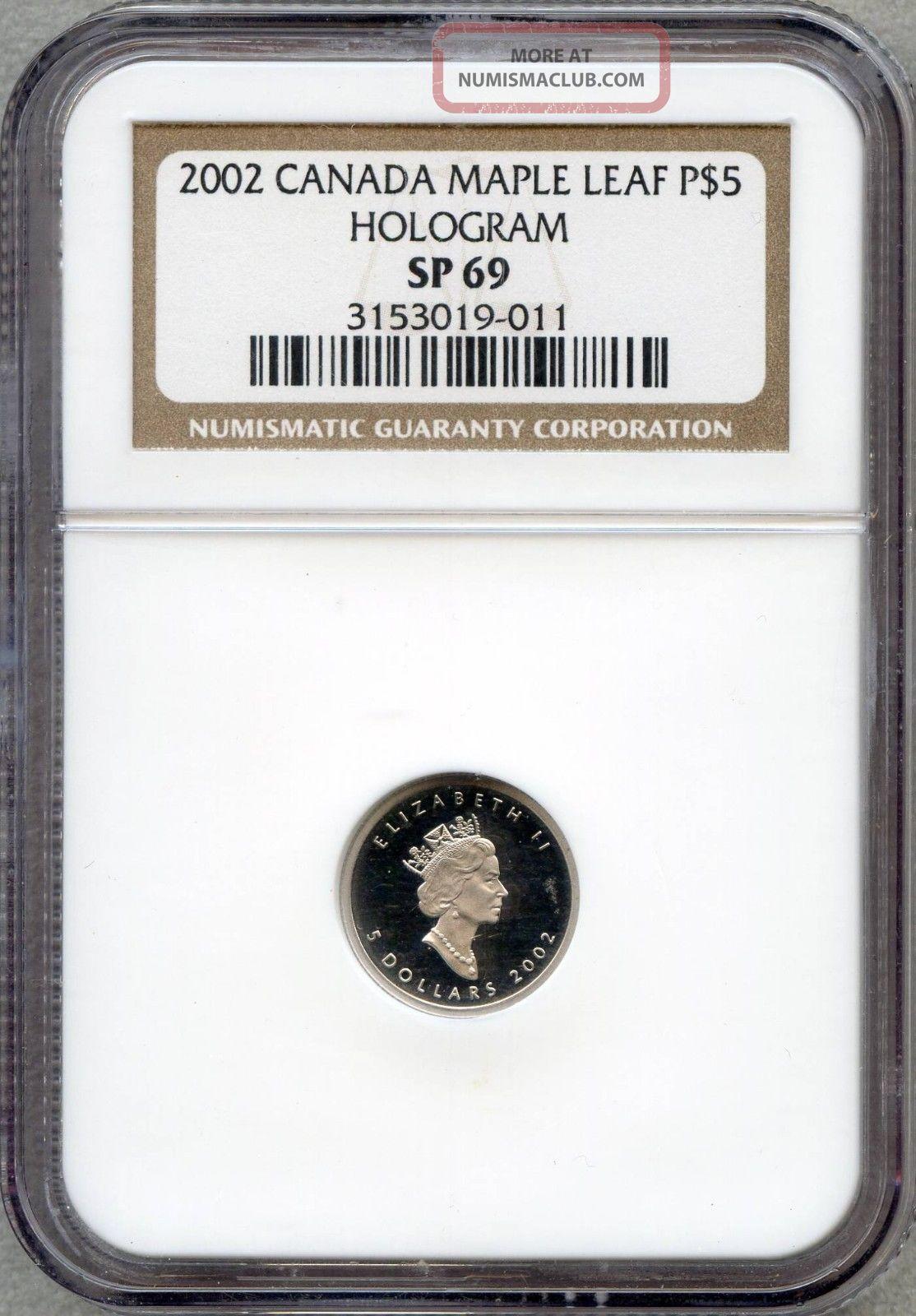2002 Canada Maple Leaf Platinum $5 Hologram Ngc Sp 69 Platinum photo