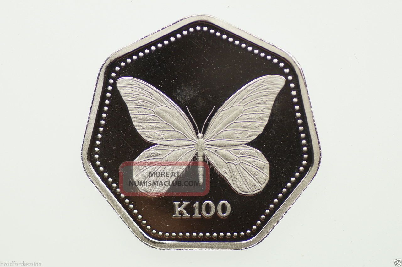 1992 99.  50 Platinum Queen Alexandra Butterfly 100 Kina Proof Coin Coins: World photo