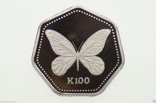 1992 99.  50 Platinum Queen Alexandra Butterfly 100 Kina Proof Coin photo