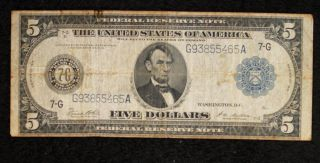 Series Of 1914 Large Size Blue Seal $5 Frn Chicago - photo