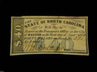 1864 $40 State Of North Carolina Loan Bond Certificate W/ W.  H Dodd Signature photo