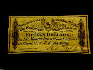 Authentic 1861 $15 Csa Loan Bond Certificate W/ R.  O Tyler Signature - photo