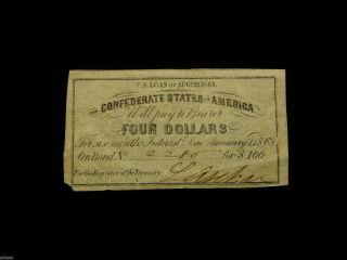 Authentic 1861 $4 Csa Loan Bond Certificate W/ L.  Archer Signature - photo