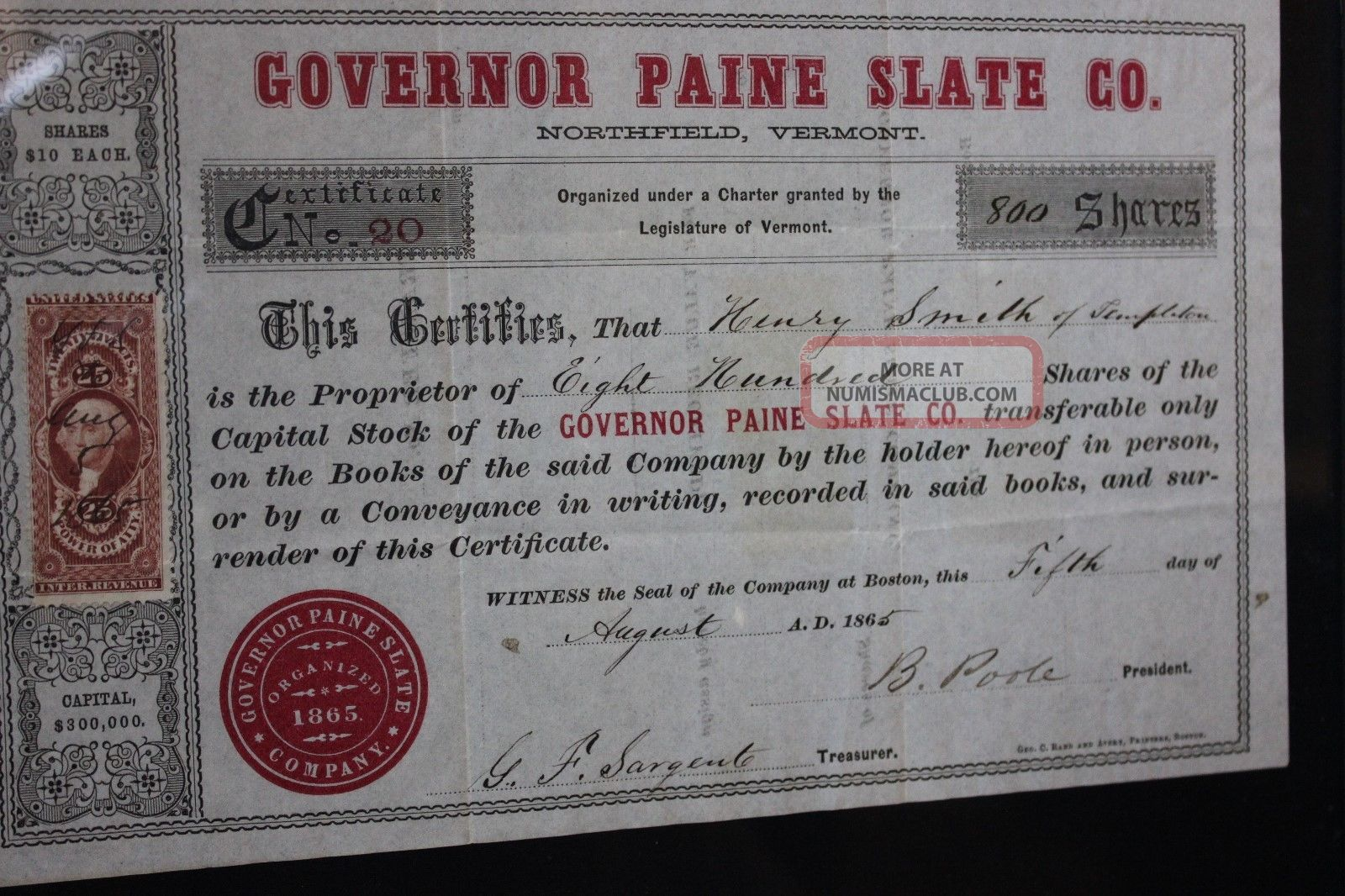 Antique Northfield Vermont Governor Paine Slate Company Stock Certificate 1865 Stocks & Bonds, Scripophily photo
