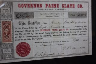Antique Northfield Vermont Governor Paine Slate Company Stock Certificate 1865 photo