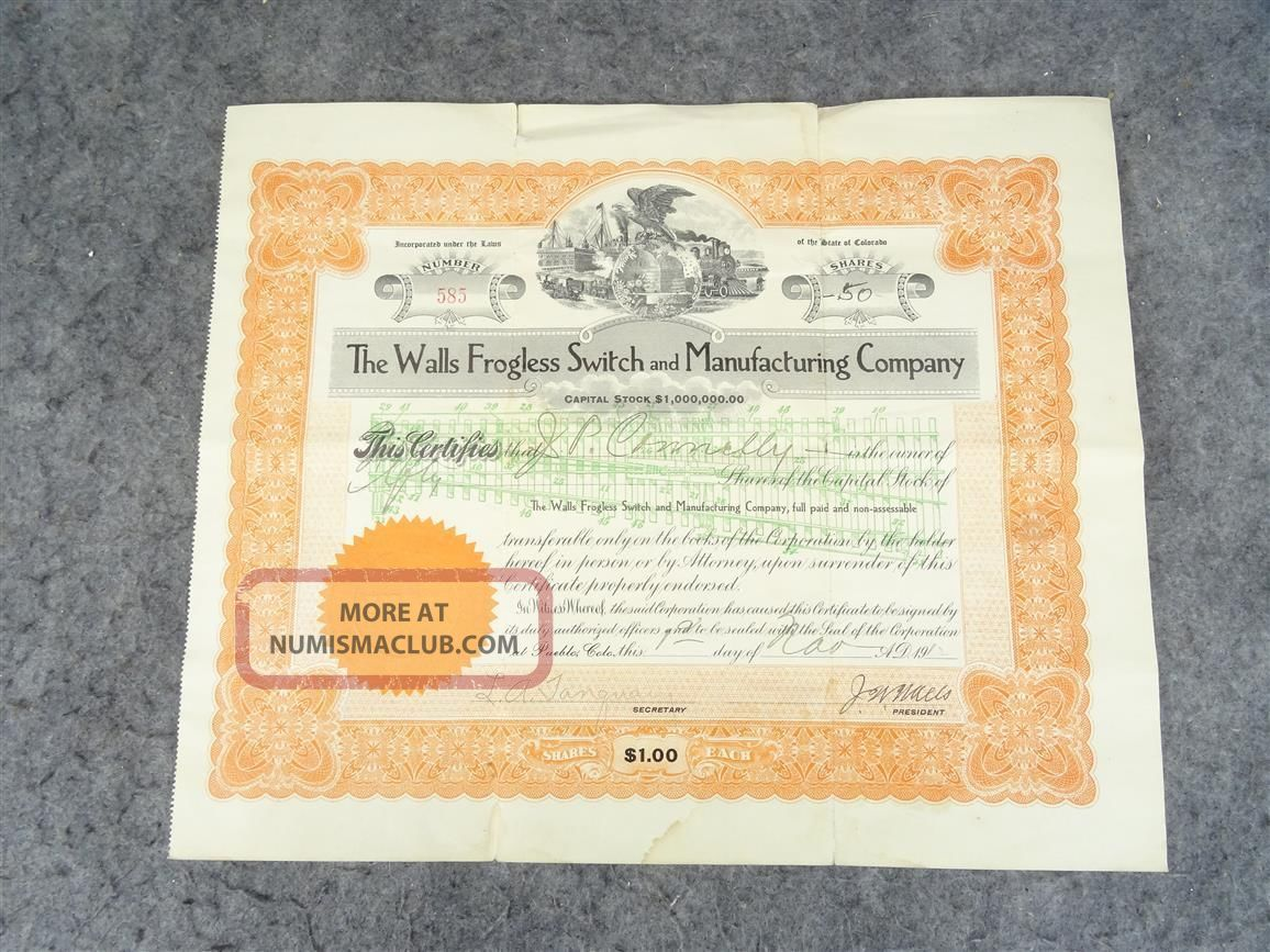 Vintage Stock Certificate From The Walls Frogless Switch And Manufacturing Co. Stocks & Bonds, Scripophily photo