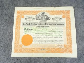 Vintage Stock Certificate From The Walls Frogless Switch And Manufacturing Co. photo