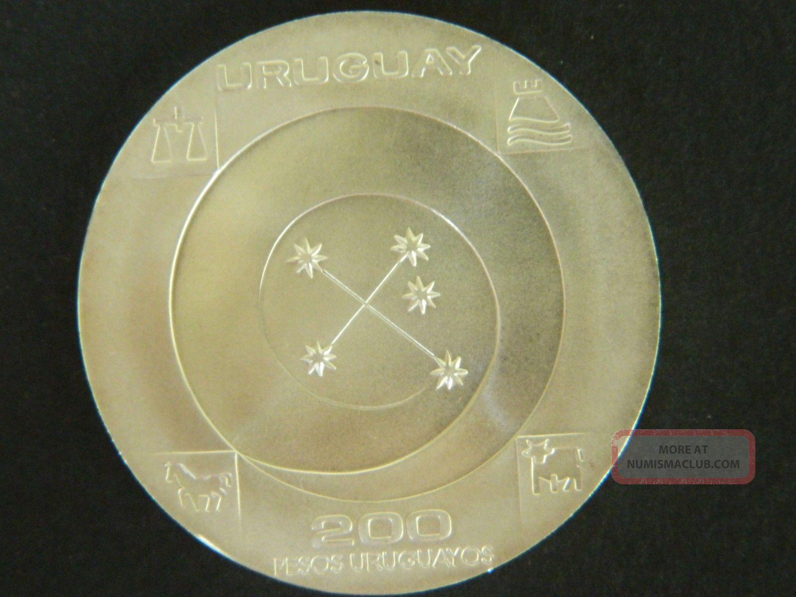 Uruguay 1999 Silver,  200 Pesos Coin.  Unc.  Real Photos South America photo