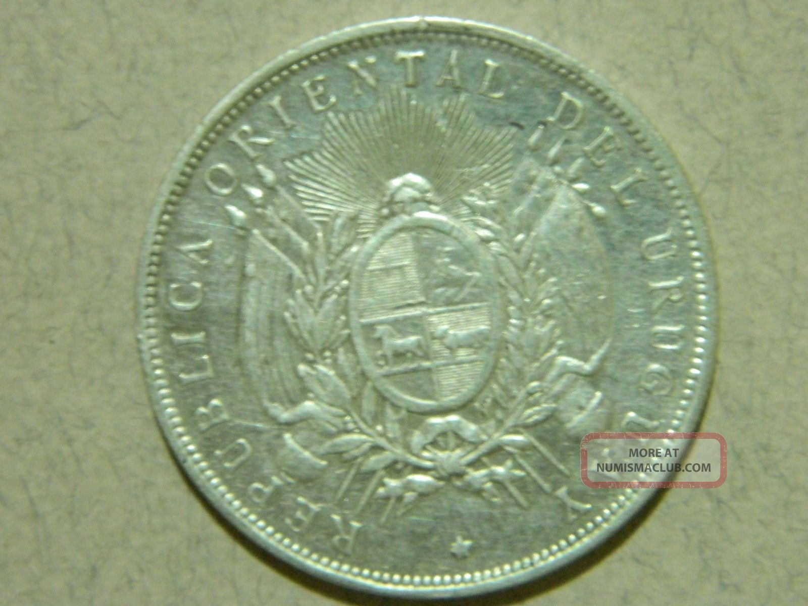 1893 Uruguay 1 Peso Silver Coin.  Actual Images. South America photo