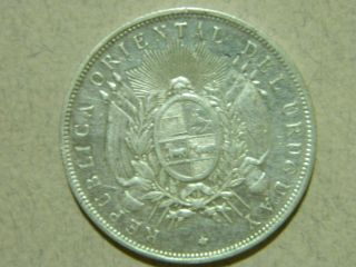 1893 Uruguay 1 Peso Silver Coin.  Actual Images. photo