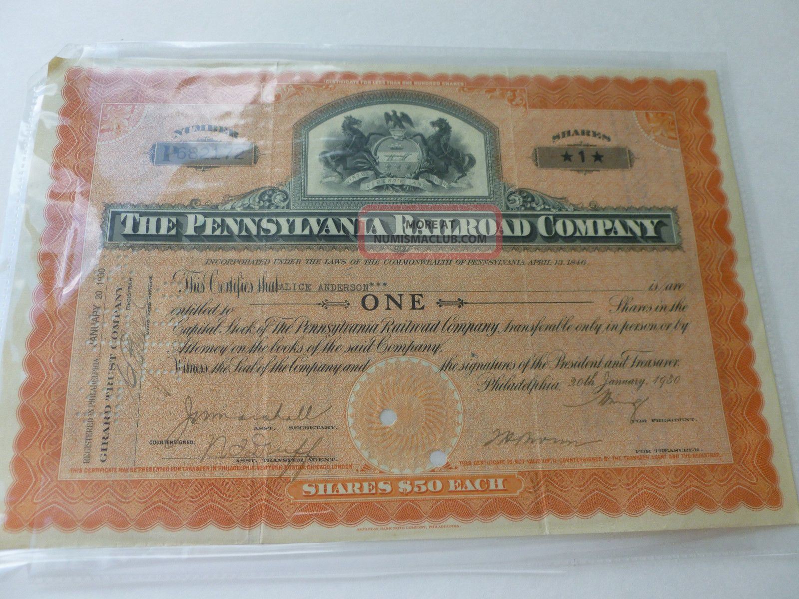 1930 Pennsylvania Railroad Company Stock Certificate - One Share Transportation photo