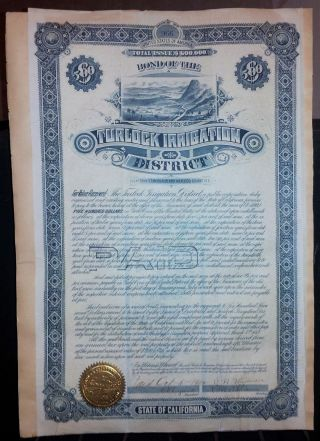 Turlock Irrigation Bond,  Rare Official Statements,  Municipal Bond Trader Gift photo