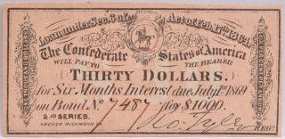 Civil War Confederate $1000 Bond C.  S.  Loan 1864 $30 Coupon Richmond Va 7487 photo