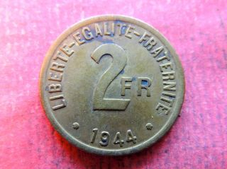 France 2 Francs,  1944,  Large Denomination Above Date photo