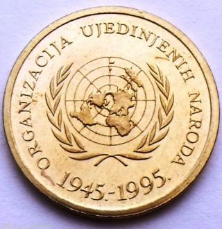 Croatia 10 Lipa 1995 United Nations - 50th Anniversary - Rare Commemorative Coin photo