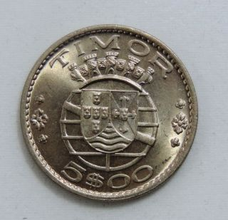 Timor Coin,  5$00 Escudos 1970 Unciruclated,  Km 21 Nickel photo