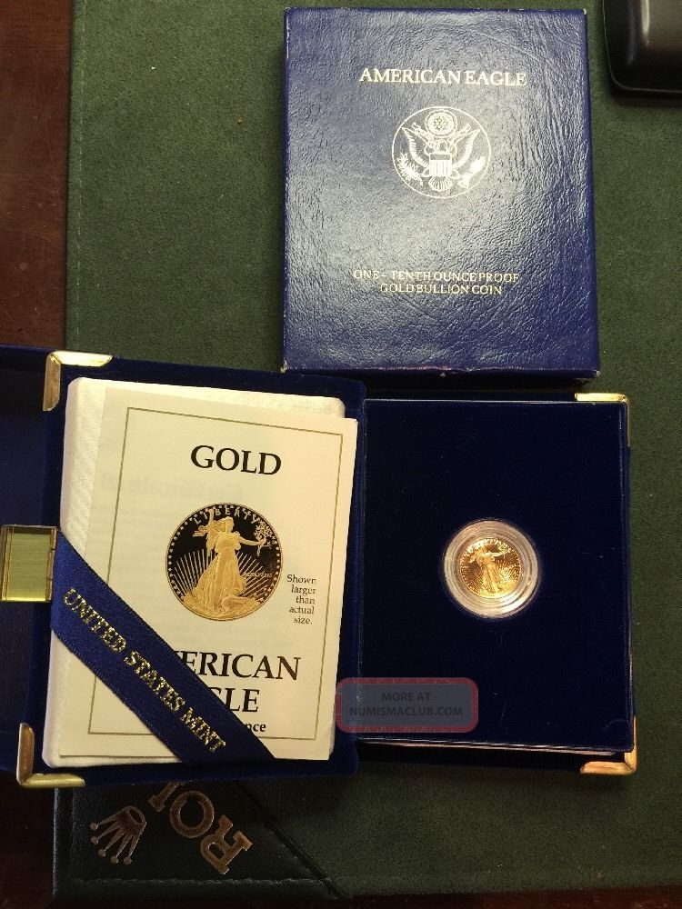 1989 American Eagle One Tenth Ounce Proof Gold Bullion Coin 1 10 Oz