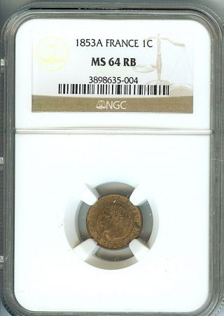 France 1853 - A Centime Ngc Ms64 Rb photo