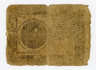 Nov.  29,  1775 $7 Continental Currency Note photo