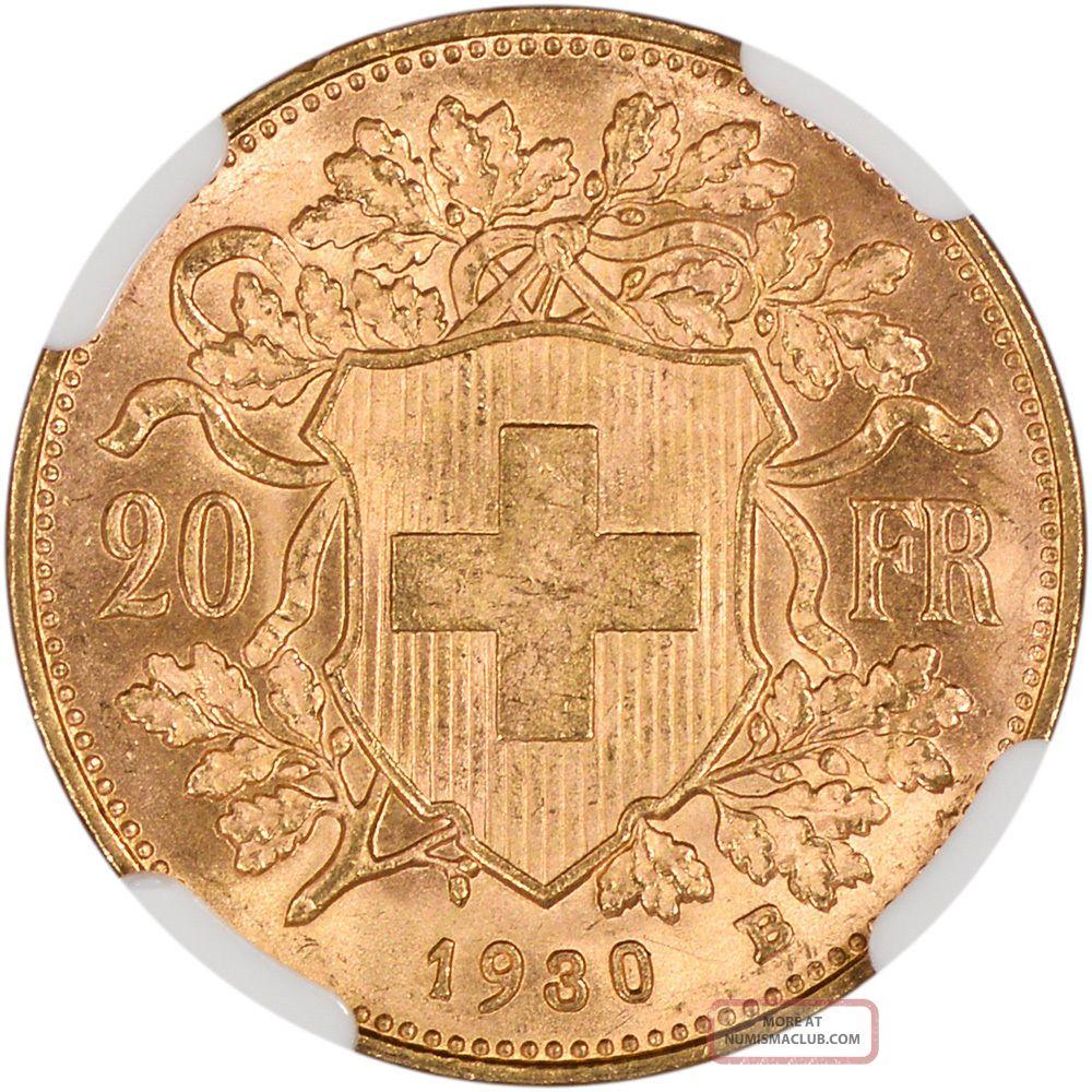 1930 B Switzerland Gold 20 Francs Ngc Ms65