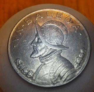 1934 Panama One Balboa Large Silver Coin Low Mintage photo