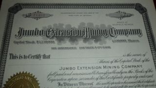 1908 71492 - Jumbo Extension Mining Company Goldfield Nevada Stock Certificate photo