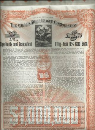 $1,  000,  000 World Bible League 50 Yr Gold Bond Certificate Uncancelled 1911 Stock photo