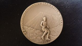 1967 Seward Alaska 53rd Annual Mount Marathon Race Fine Silver Token Medal photo