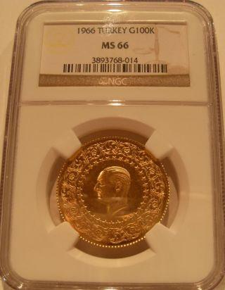 Turkey 1966 Gold 100 Kurush Ngc Ms - 66 photo