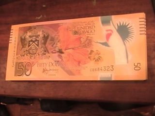 $50 Trinidad & Tobago Polymer Banknote 2014 50 Year Commem Gem Unc Cb684323 photo