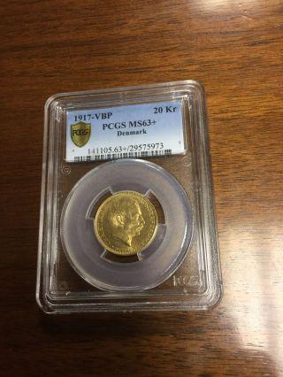 1917 Gold 20 Kroner Danmark Very Rare,  Pcgs Ms - 63 photo