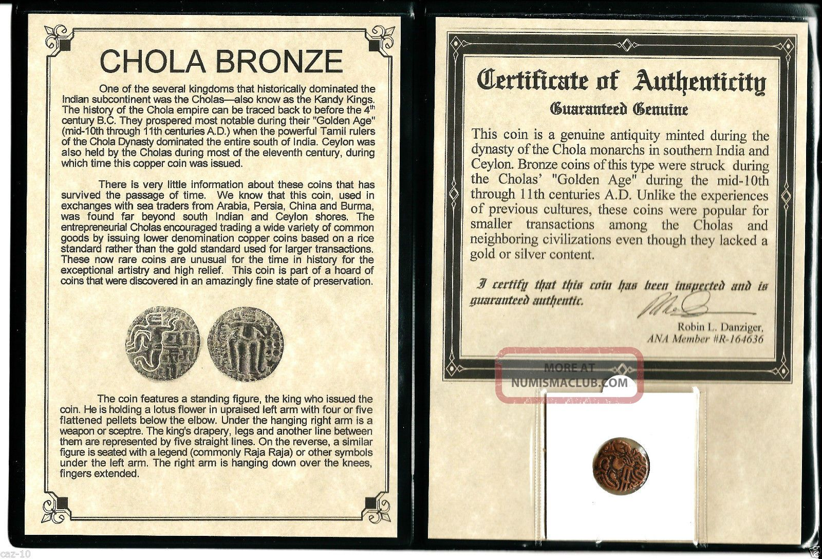 11th Cad Bronze Coin Of The Chola Dynasty That Ruled South India,  &certif & Album India photo