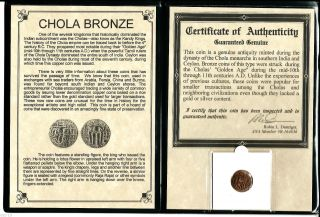 11th Cad Bronze Coin Of The Chola Dynasty That Ruled South India,  &certif & Album photo