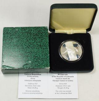 2000 Lithuania Silver 50 Litu,  Summer Olympics - Discus,  Proof W/ Box/coa photo