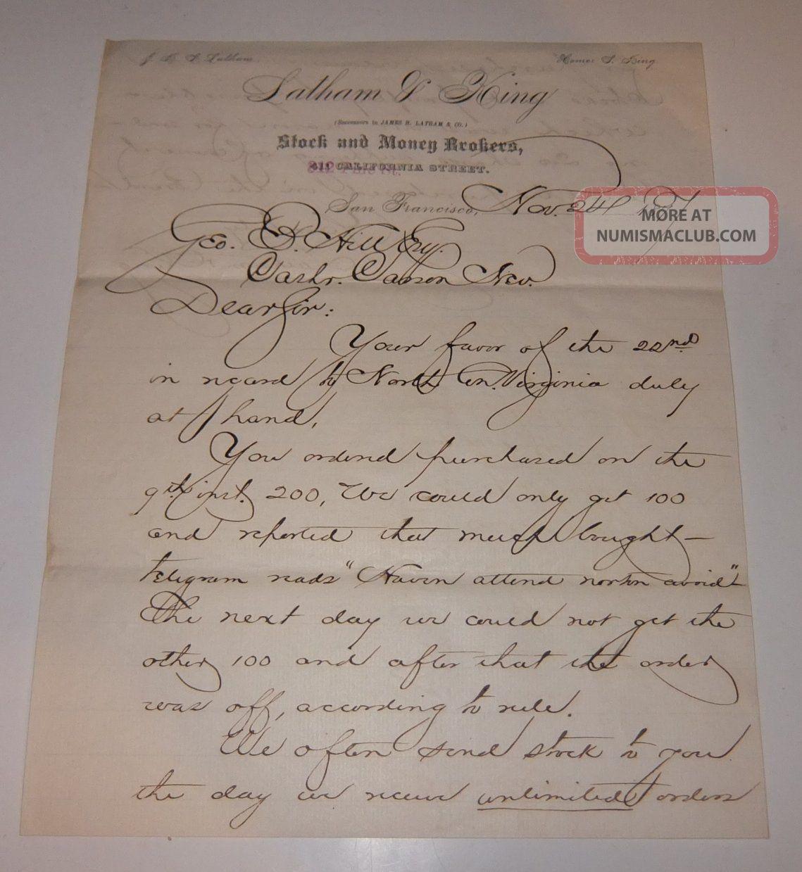 1877 Latham King Letter Comstock Lode Mining Stockbroker To Carson Bank Nevada Stocks & Bonds, Scripophily photo