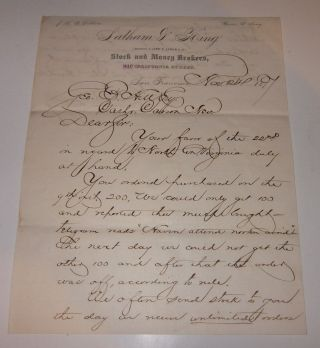 1877 Latham King Letter Comstock Lode Mining Stockbroker To Carson Bank Nevada photo
