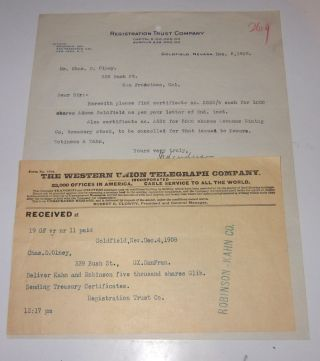 1908 Goldfield Nevada Letter & Telegram On Goldfield Adams Mining Stock photo