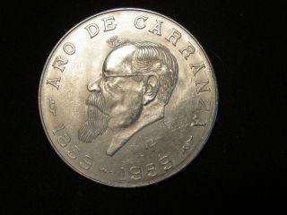 -/> JOSE MORELOS! SILVER MEXICO UN PESO COIN IN CAPSULE BRILLIANT UNC
