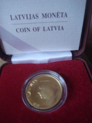 Latvia Lettonia 20 Lats Gold Coin Of Latvian Rare 0.  352739 Oz Au 999.  9 Proof photo