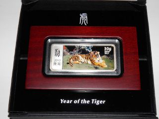 2010 Liberia Year Of The Tiger 10$ Silver Proof Coin 30g Lunar photo
