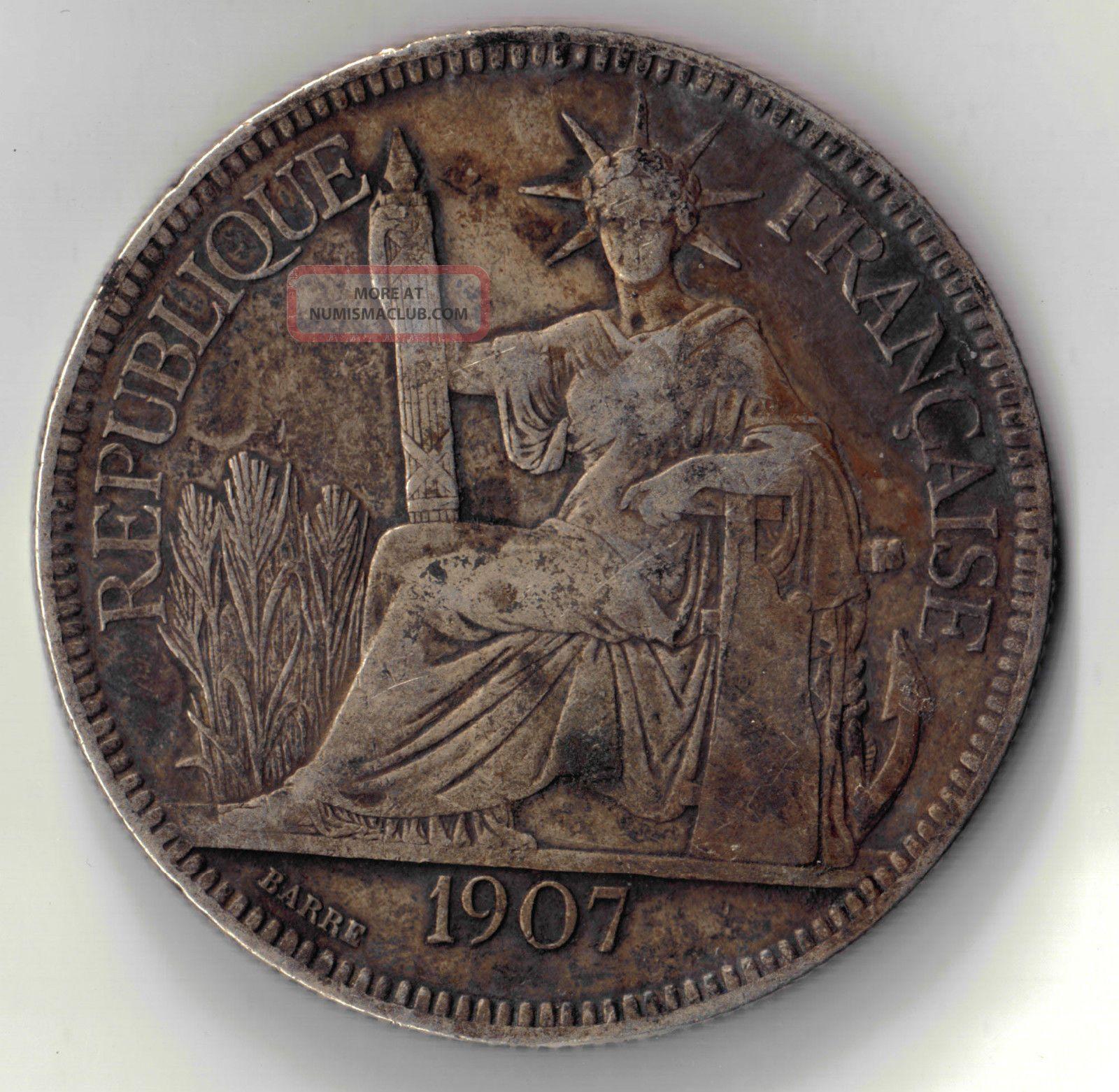 1907 French Indo China Silver Piastre De Commerce 27 Gram Coin